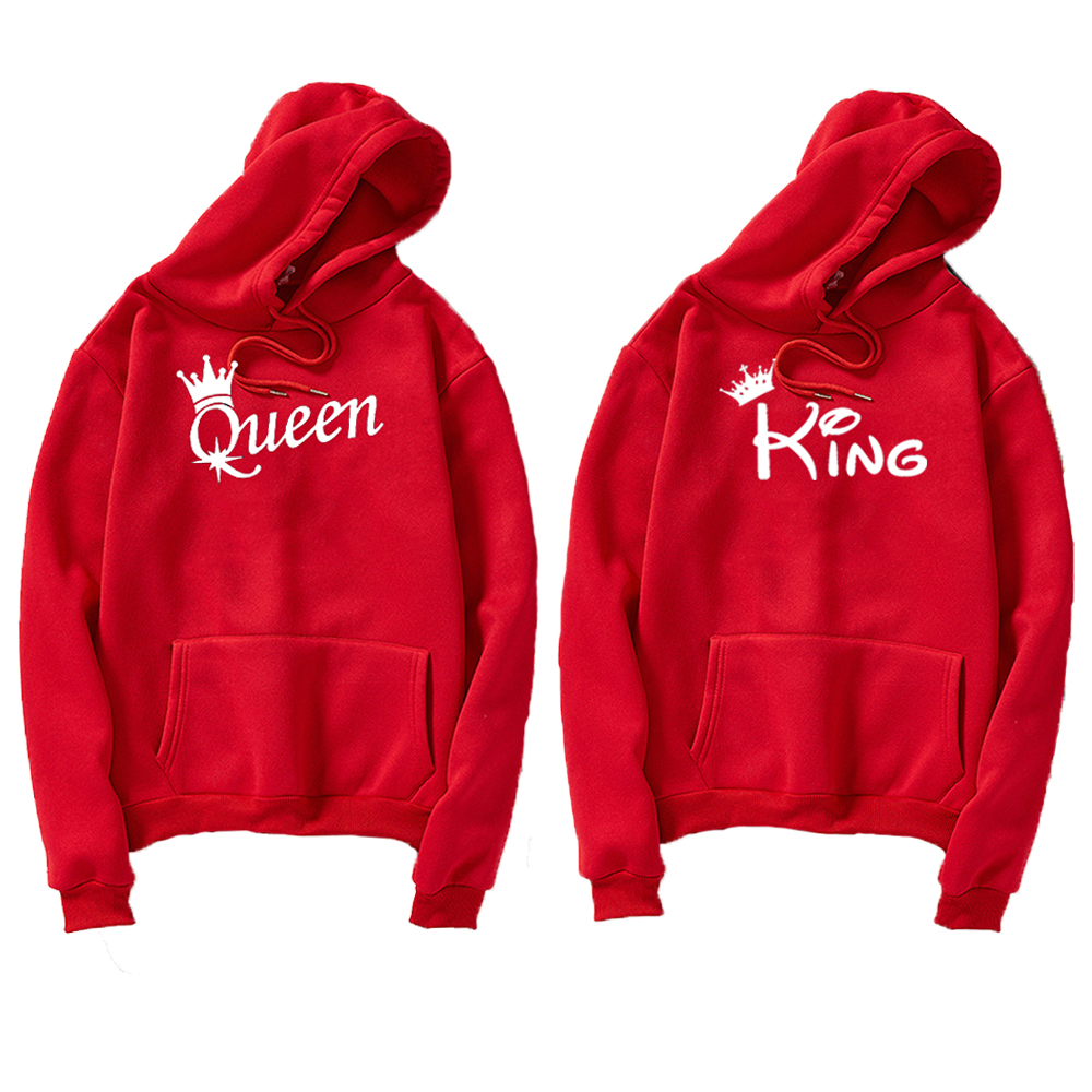KING Queen Crown Print Men Women Streetwear Autumn Long Sleeve Hoodies Sweatshirt For Lovers Winter Hooded Pullovers Coat Hoody