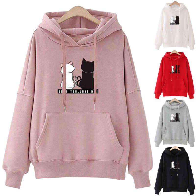 2019 Fashion Casual Hoodies Sweatshirts Vrouwen Kleine Kat Print Pocket Hoodie Trui Meisje School Streetwear Hoodie Vrouwelijke Tops