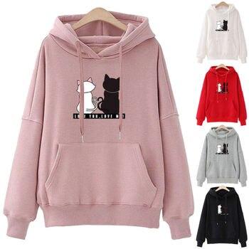 2019 Fashion Casual Hoodies Sweatshirts Women Little Cat Print Pocket Hoodie Pullover Girl School Streetwear Hoodie Female Tops
