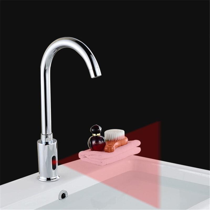 Capteur infrarouge automatique lavabo robinet intelligent sans contact simple robinet froid pont de montage avec 2 tuyaux salle de bain robinet bassin robinets