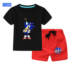 Children Baby Girl Clothes Set Summer Toddler Boy Short Sleeve sonic Tshirt Two-piece Sets Cotton Kids Infant Clothing Outfits summer infant clothes cotton short sleeve tops pants baby toddler boy clothing sets kids children boys outfits suits