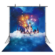 Mickey Mouse backdrop for photography children birthday theme party decoration fireworks castle photo booth studio star sky(China)