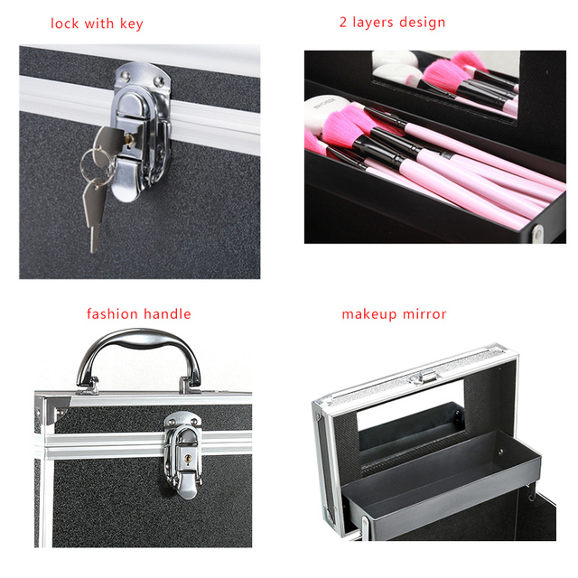 Makeup Bag Suitcase Women Multifunction Travel Cosmetic Bag Neceser Professional Beauty Nail Art Tool Cosmetic Storage Bags Case 5
