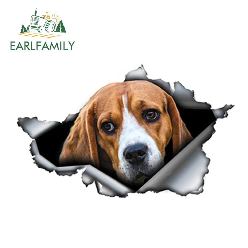EARLFAMILY 13cm X 8cm Beagle Car Sticker Torn Metal Decal Reflective Stickers Waterproof Car Accessories Car Styling Decoration