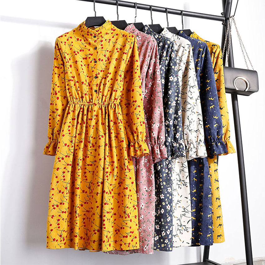 Corduroy Butterfly Sleeve Print Mid-long Dress Women Vintage Elastic Waist Dresses Multicolor Female Fashion Floral Dress 2019