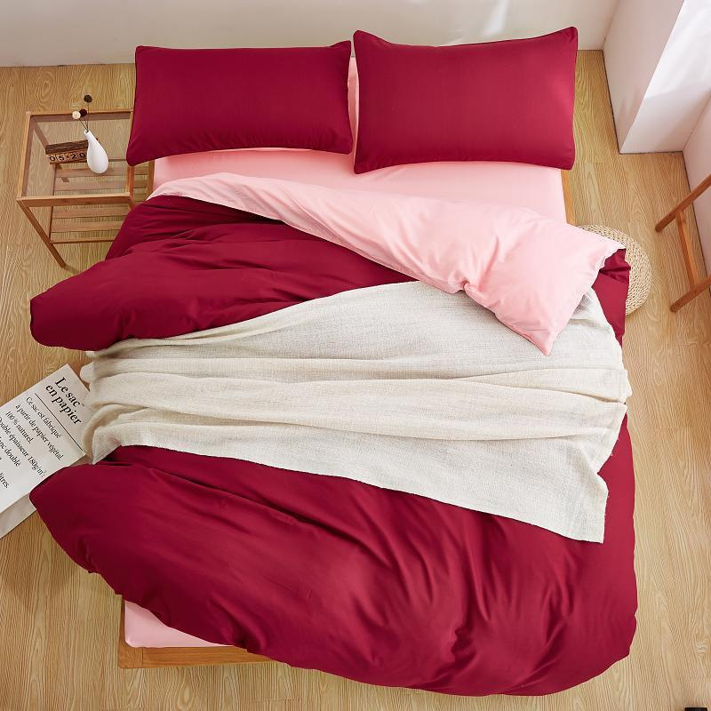 Plain Maroon and pink Color Linen Bedding Sets
