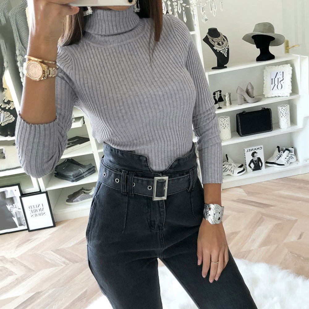 Knitted Jumper Solid Autumn Plain Crotch Bodysuit Winter Female Slim Fit 2020 Women Turtleneck Long Sleeve Stretchy Bodysuits