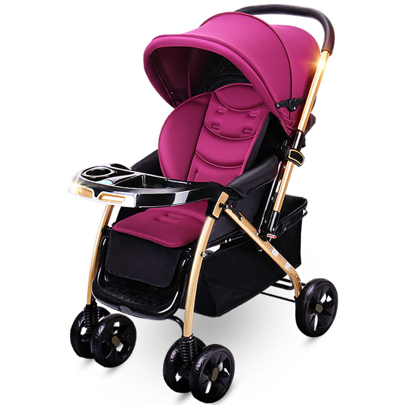 Baby Stroller Four Rounds High Landscape Can Sit and Lie Foldable Light Suspension Two-way Cart Full Awning
