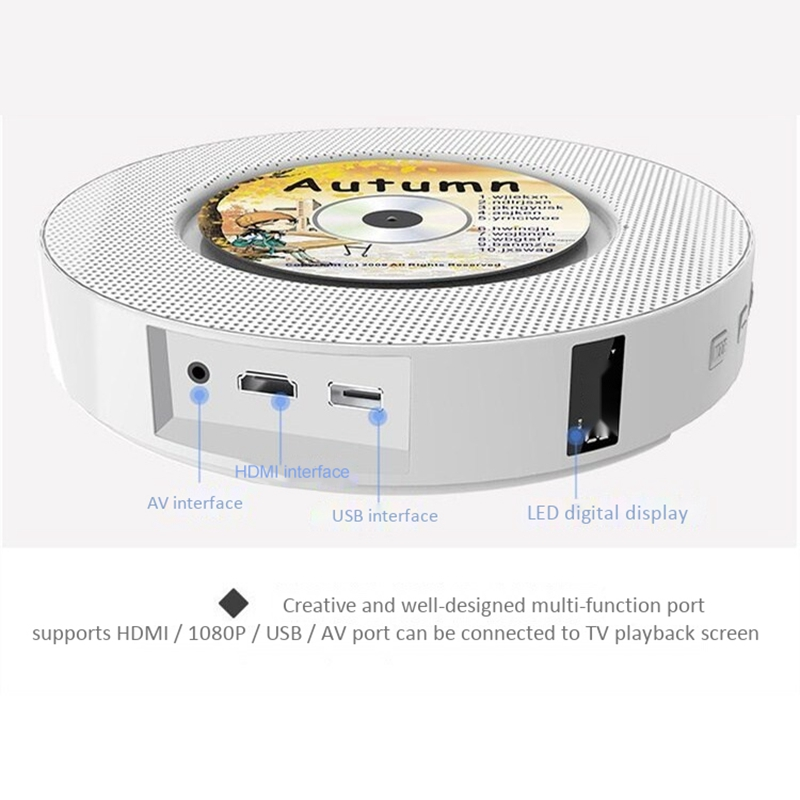 Portable Wall Mountable CD DVD Player with Bluetooth Home Audio Boombox with Remote Control FM Radio Built In HiFi Speakers with - 3