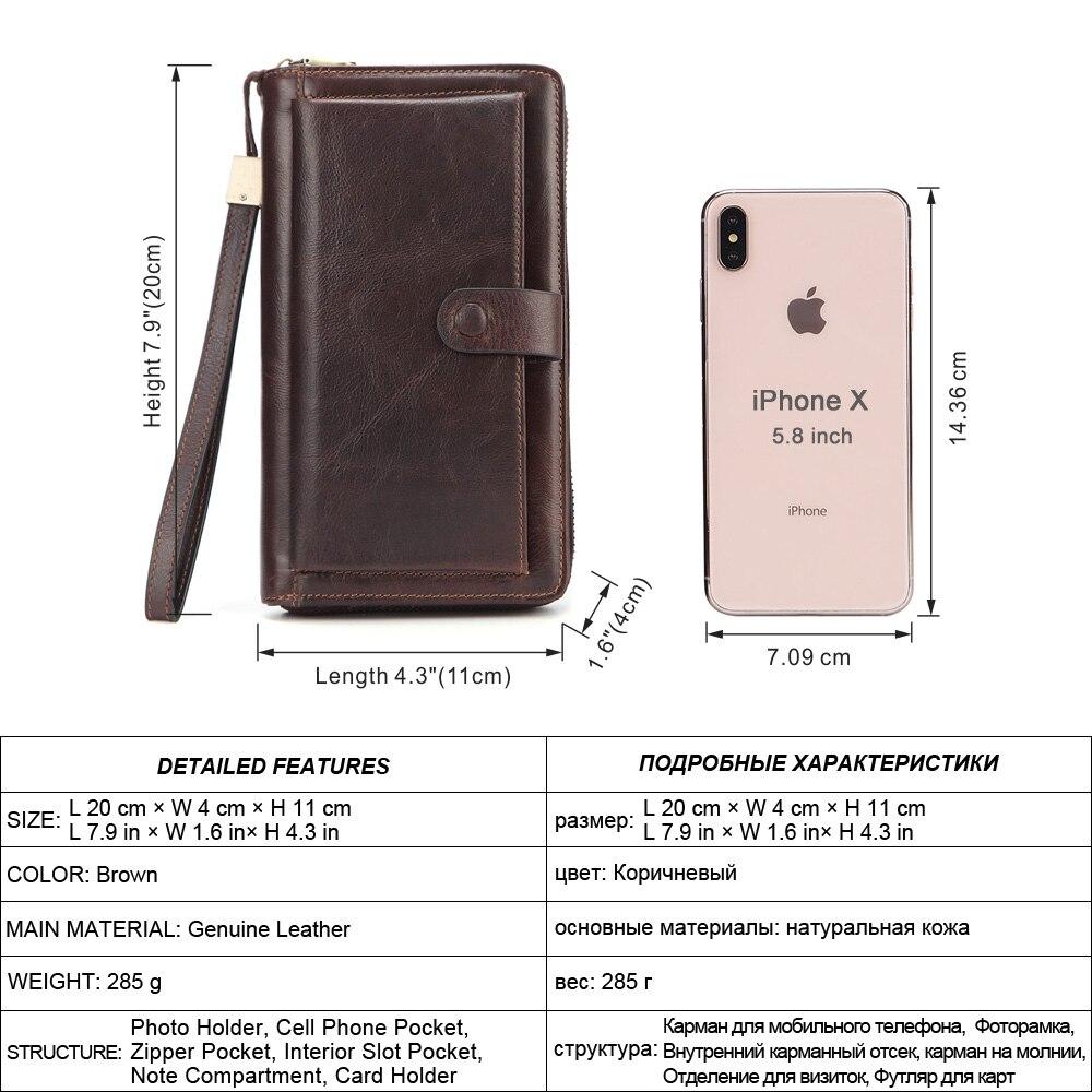 Image 2 - Banlosen Men Cowhide Clutch Wallets Genuine Leather Long Purses  Business Large Capacity Wallet Double Zipper Phone Bag For MaleWallets
