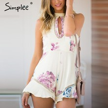 Simplee Elegante ruffles cópia floral rompers mulheres jumpsuit Sexy halter oco out lace macacão branco curto verão playsuit(China)
