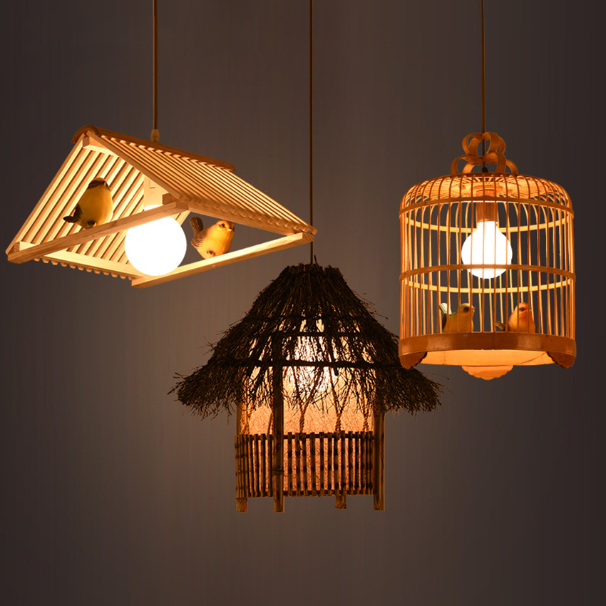 Japan Wood LED Pendant Lights Restaurant Cafe Weaving Antique Bird Cage Pendant Lamps Kitchen Fixtures Hanging Lamps Luminaria