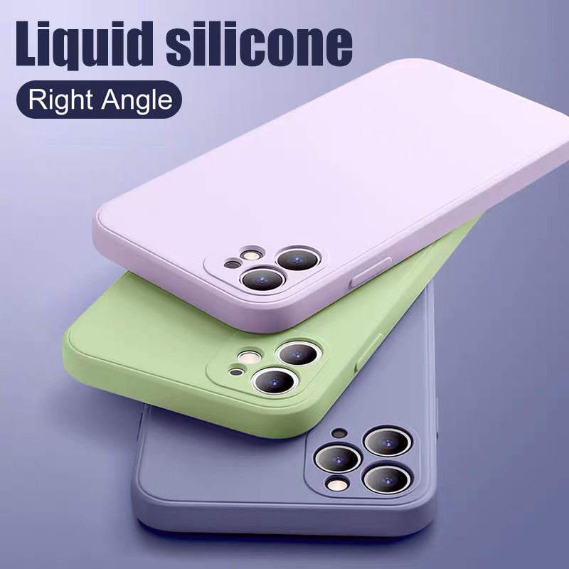 Luxury Silicone Soft Case For Iphone Se 2020 11 Pro Xs Max X Xr Right Angle Liquid Silicone