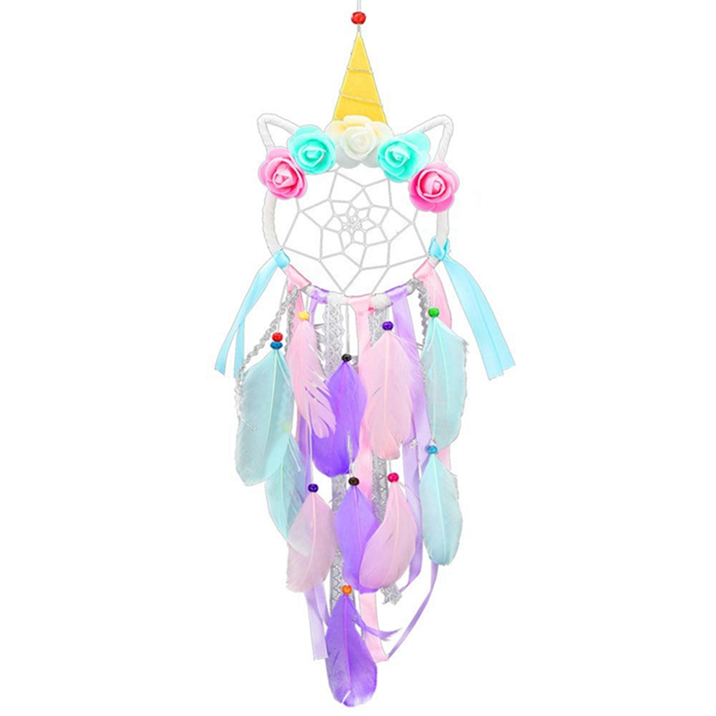 Home Decor Handmade Unicorn Dream Catcher Feather Tassel Pendant Wall Hanging Ornaments Craft For Girls Kids Photo Props
