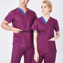Plug Size S-4XL Medical Clothes Pure Cotton V Neck Scrub Top Short Sleeve Doctor Nurse Workwear Side Vent Women Scrubs Surgery