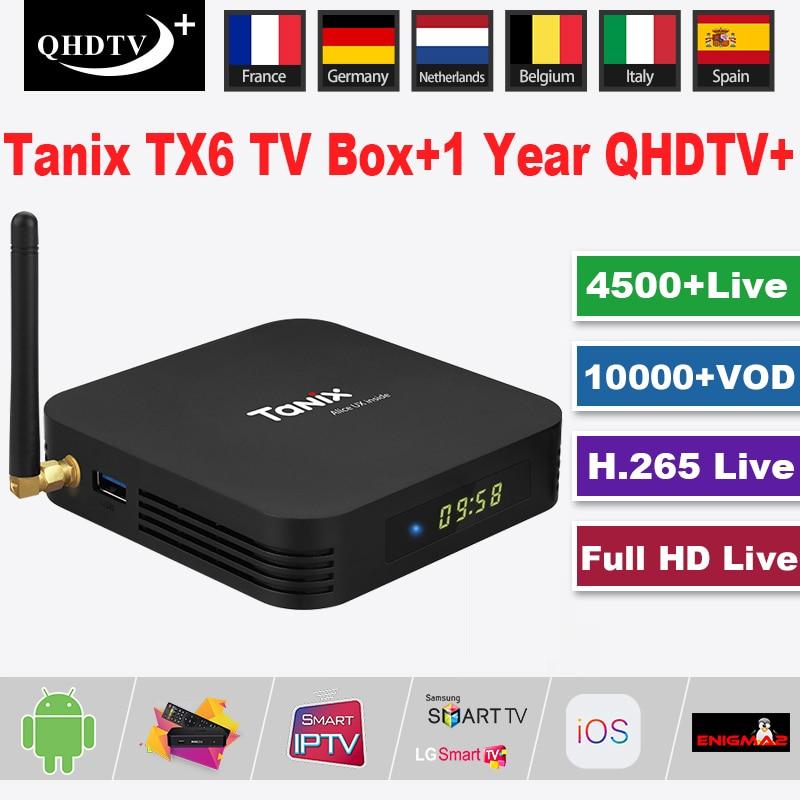 Tanix TX6 Android 9.0 Boîte de TÉLÉVISION intelligente + 1 An QHDTV Plus Abonnement IPTV Maison Lecteur Multimédia 4K HD IPTV WIFI Décodeur Maison Theare