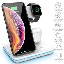 Беспроводное зарядное устройство Qi 3 в 1, 15 Вт для iPhone XS, XR, X, 8, 11, Samsung S10, S9, док станция для быстрой зарядки Apple Watch 5, 4, Airpods Pro