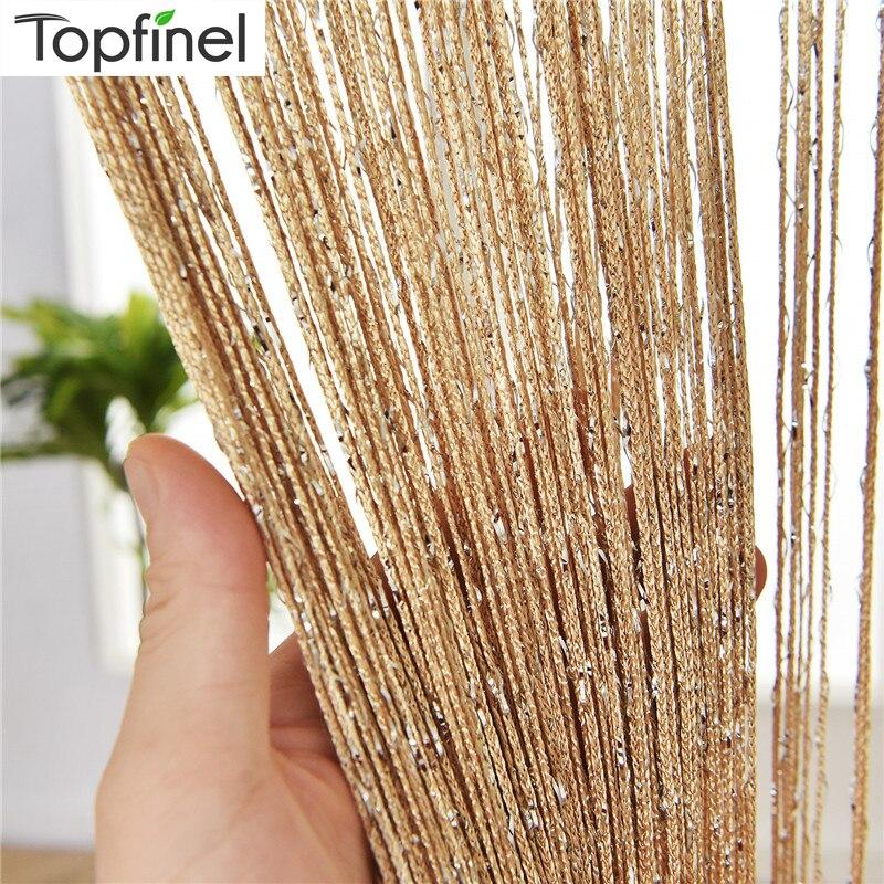 Topfinel 300X260 cm String Curtain Valance Shiny Tassel Line Curtain Solid Color Window Door Curtain Divider Drape Room Decor