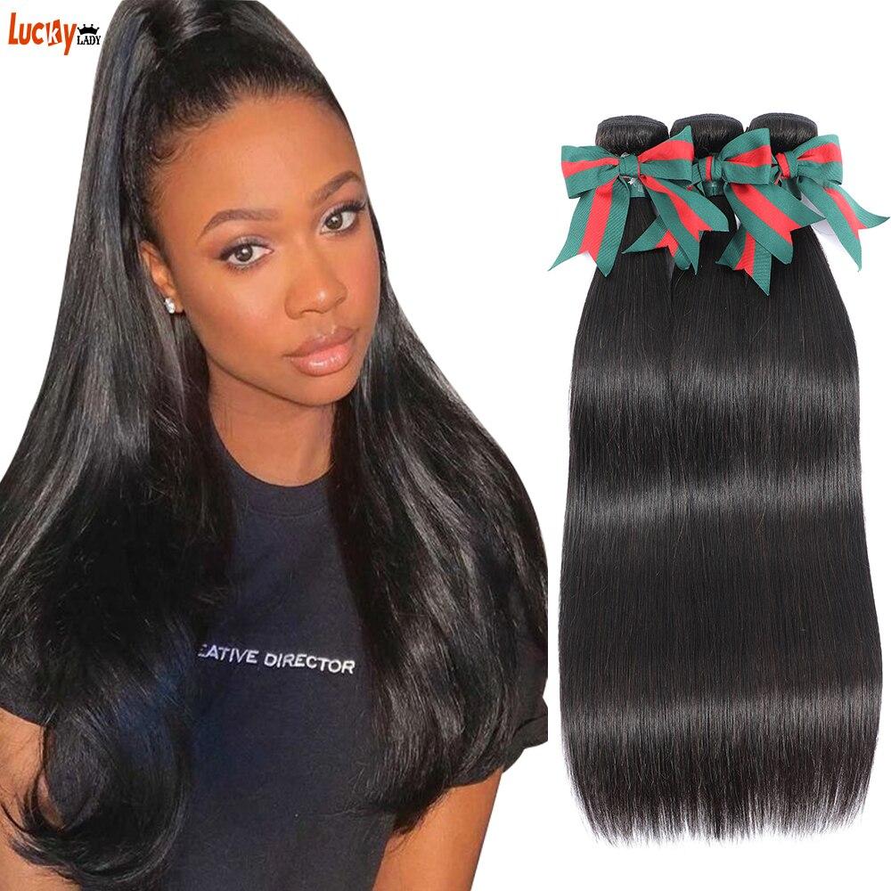 Peluca de pelo liso con doble hueso mechones 100% cabello humano Remy, extensión de cabello Natural malayo, 3/4 Uds.