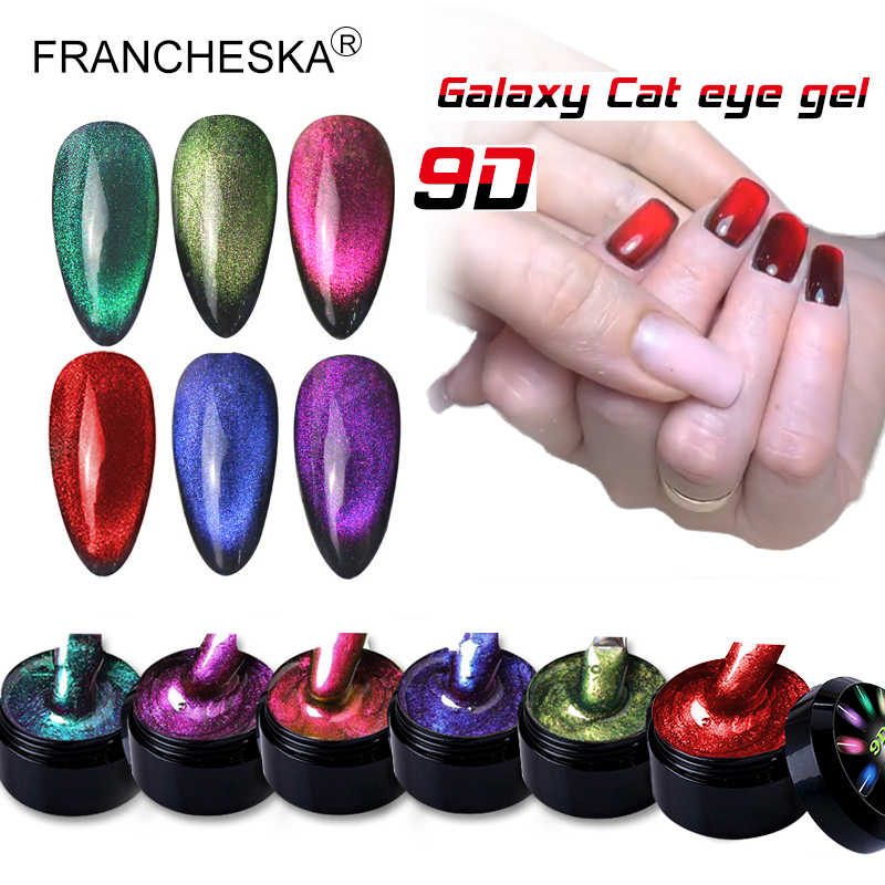 8Ml 9D Galaxy Cat Eye Nail Gel Chameleon Magnetic Rendam Off UV Nail Varnish 5D/9D Bersinar Semi permanen Gel Manicure Lacquer
