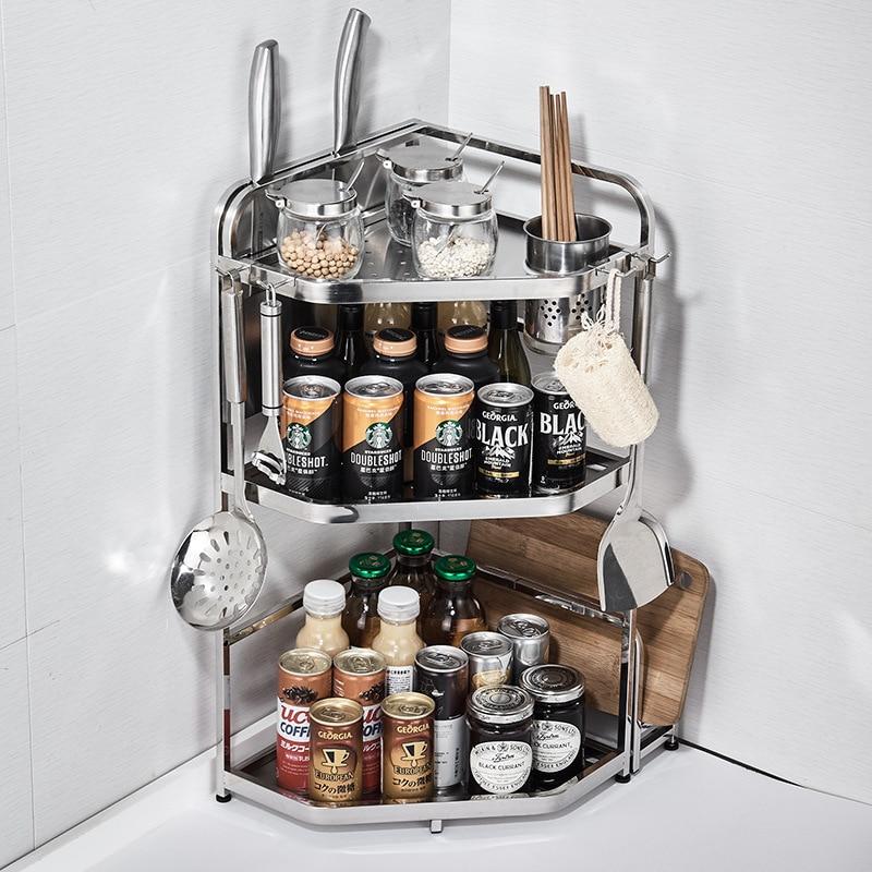 A Generation Of Fat Kitchenware Seasoning Multi-functional Storage Tripod Stainless Steel Bathroom Shelf Manufacturers Wholesale
