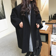 Coat women autumn winter Women Brown Coat Long Style Pocket Woolen Coat Ladies Casual Solid Loose Black Oversize Coat cheap SexeMara Polyester Acrylic Open Stitch REGULAR Cloak Pockets V-Neck Full