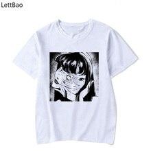 Camiseta Junji Ito de Manga corta de Anime japonés para hombre, camiseta de terror de Japón Weeaboo Otaku, camiseta retro de algodón de Manga corta de los años 90 para hombre