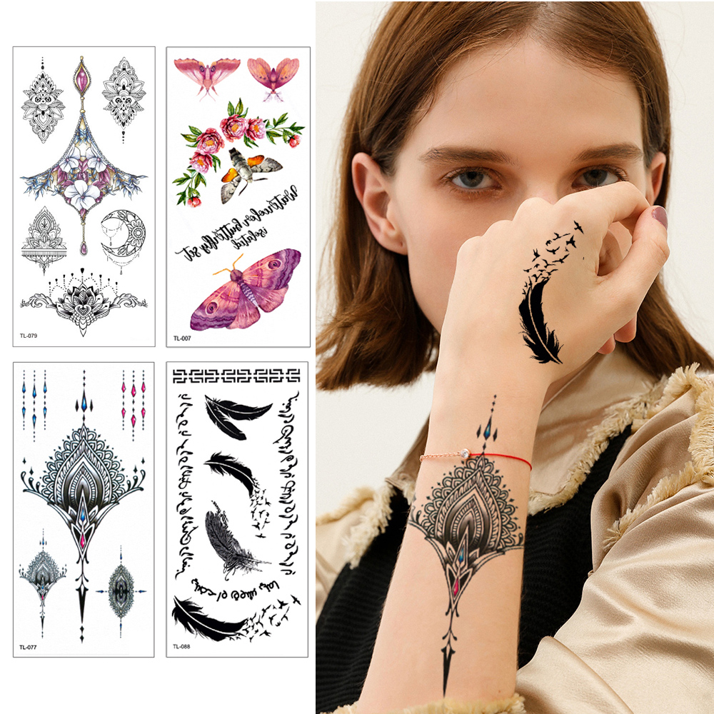 25 Designs 1 Piece  Jewelry For Women 3D Temporary Tattoo For Body Chest Waist Tattoo Sticker Cool Sexy Choker Pendan Fake Tatto