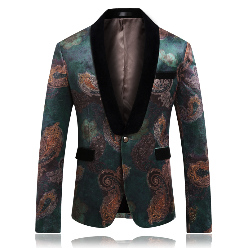 Fashion Men Long Sleeve One Button Blazer Jacket Plus Size 5XL 2019 Spring Slim Fit Print Suit Jackets Brand New Men Blazer