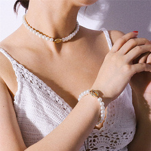 цены Baroque Long Pearl Choker Necklace & Bracelet Fashion Cowrie Shell Necklace  Collier Clavicle Chain 2019 Fashion Jewelry