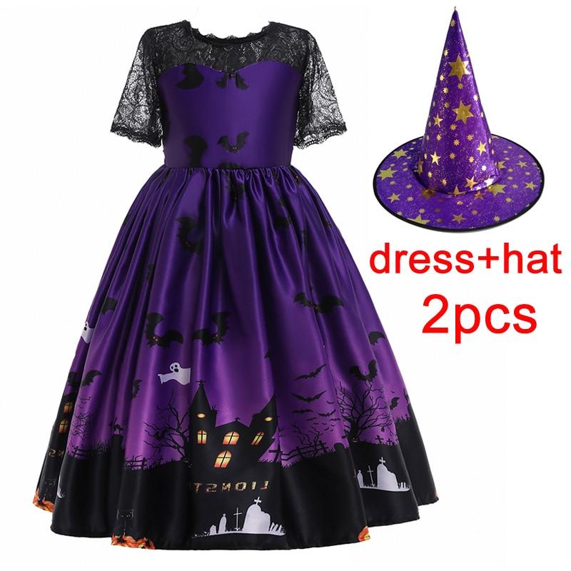 Robe longue de Cosplay dhalloween pour filles, tenue de fantôme de Vampire, pour fête, pour enfants de 8-10-12 ans