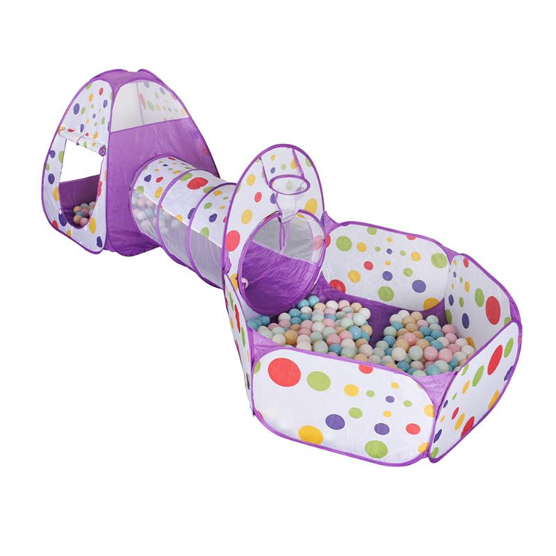 Foldable Large Play Tent Kids Indoor Outdoor Game Dots Printed Ocean Ball Pool Pit Crawling Tunnel House Toys For Children Gifts