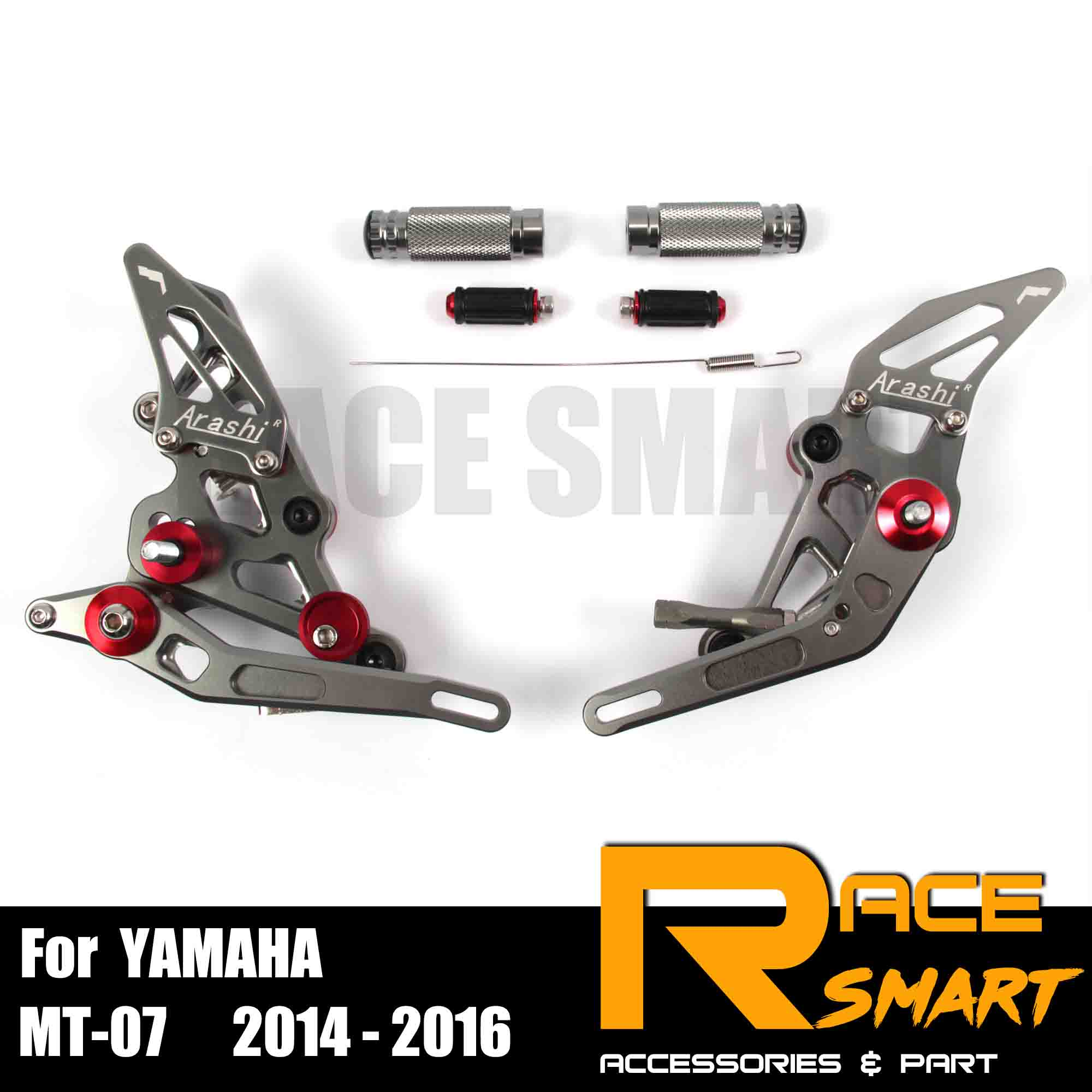 For YAMAHA MT-07 2014 - 2016 CNC Adjustable Rearset Footpegs Footrest Foot Rest Pegs Pedal Motorcycle Accessories 2015 14 15 16