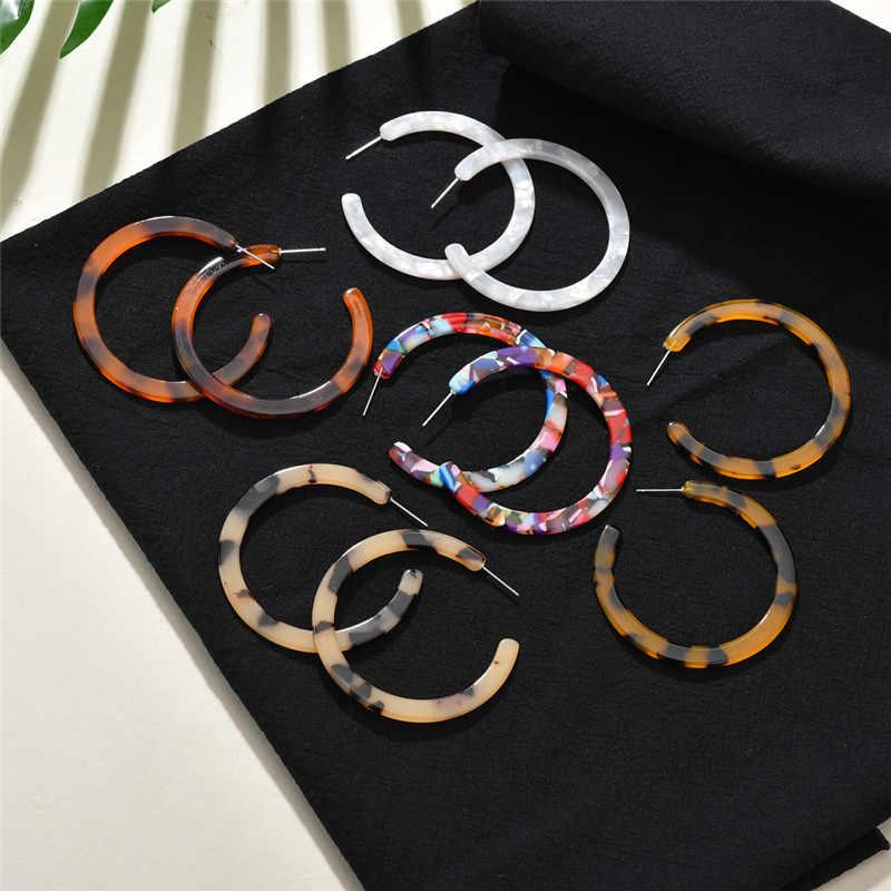 Nieuwe Mode Bohemen Acryl Acetaat Aros Oorbellen Vrouwen Vintage Luipaard Print Cirkel Hoops Lichtmetalen Oorbel Mujer Sieraden Vrouwelijke