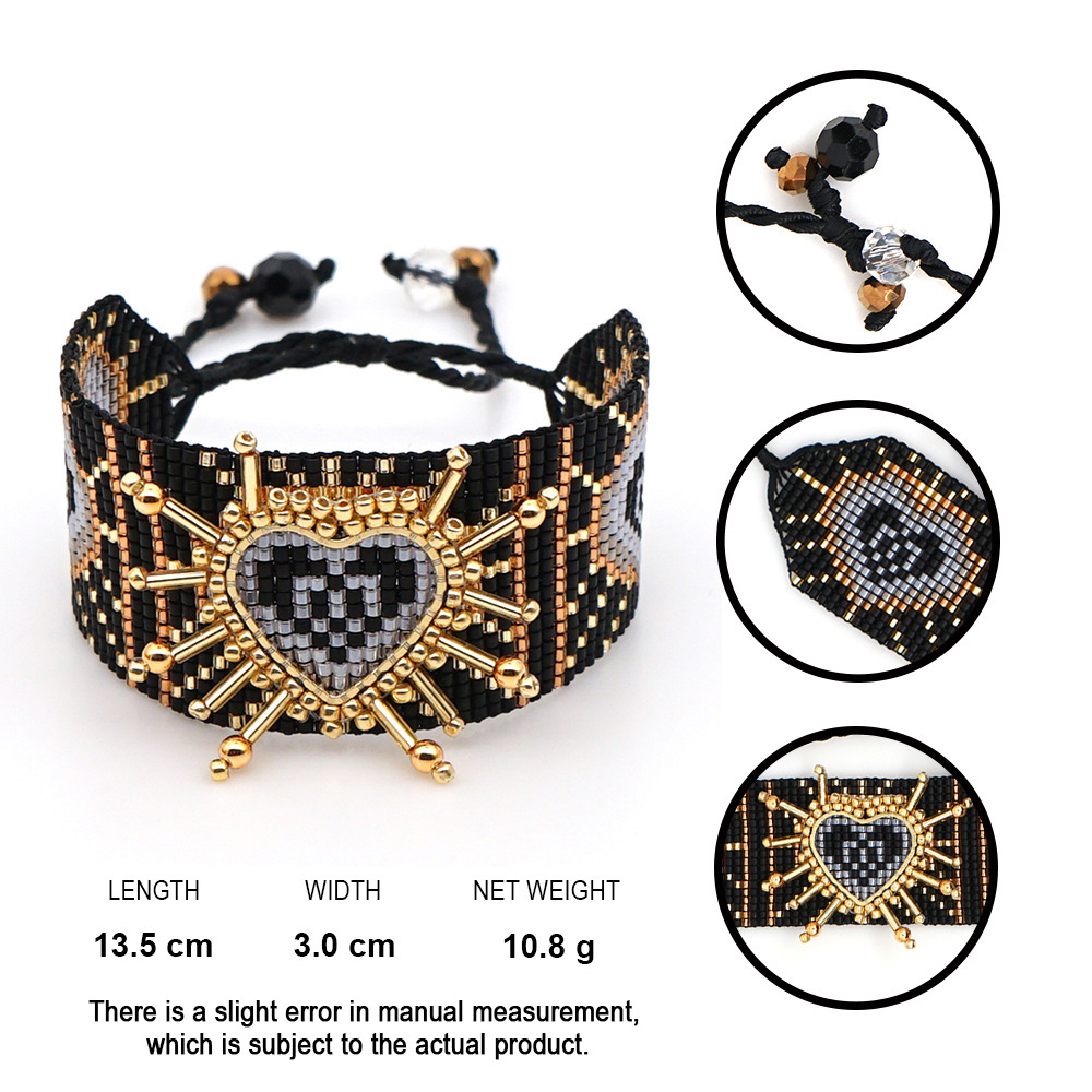 XUXI Heart-shaped New Japan Rice Beads Bracelet 2020 Women Fashion Hand Made Width Love Heart Boho Female Bracelet SS028