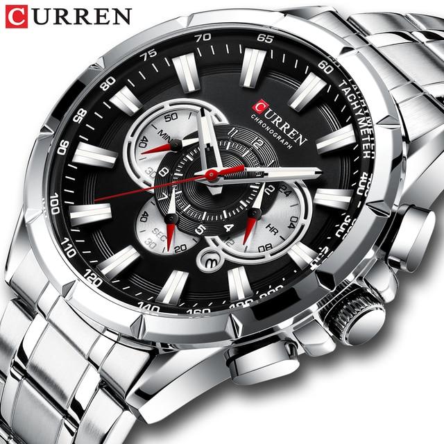 Sports Watches Men's Luxury Brand CURREN Stainless Steel Quartz Watch Chronograph Date Wristwatch Fashion Business Male Clock 1