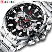 الساعات الرياضية للرجال العلامة التجارية الفاخرة CURREN الفولاذ المقاوم للصدأ ساعة كوارتز كرونوغراف تاريخ ساعة اليد موضة رجال الأعمال على مدار الساعة