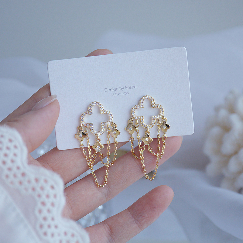 Charm 14K Real Gold Long Style Tassel Earring for Lady Elegant Zirconia Drop Earring Feminia Gorgeous Jewellery Accessories