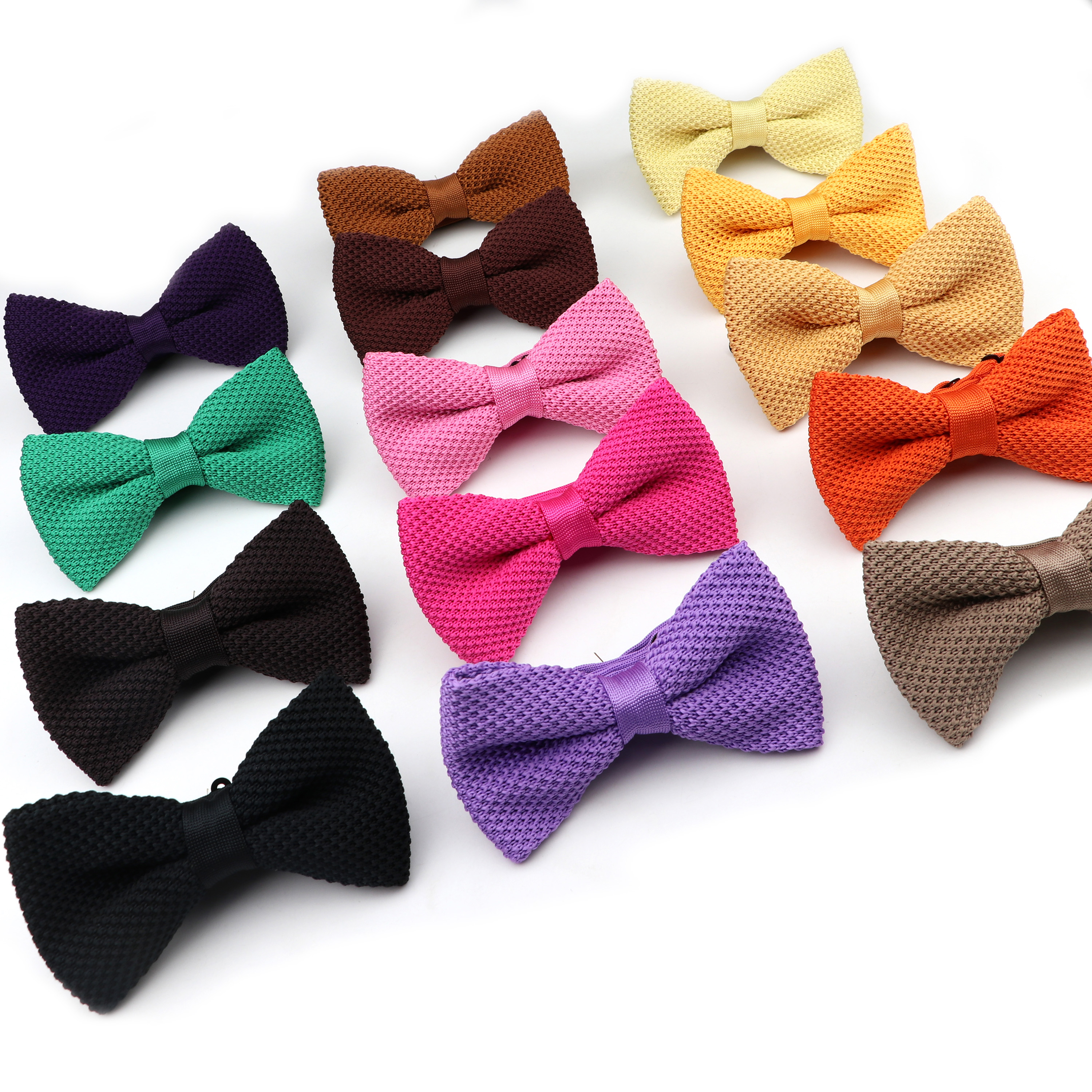 Fashion Single Deck Men Women Solid Color Bowknot Lovely Knit Bowtie Adjustable  Neckwear Designer Knitting Butterfly Bow Tie