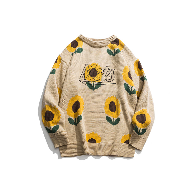 Japanese Harajuku Knit Embroirdered Sunflower Sweater For Men And Women Cute Knitted Pullover Embroidery Floral Sunflower Jumper