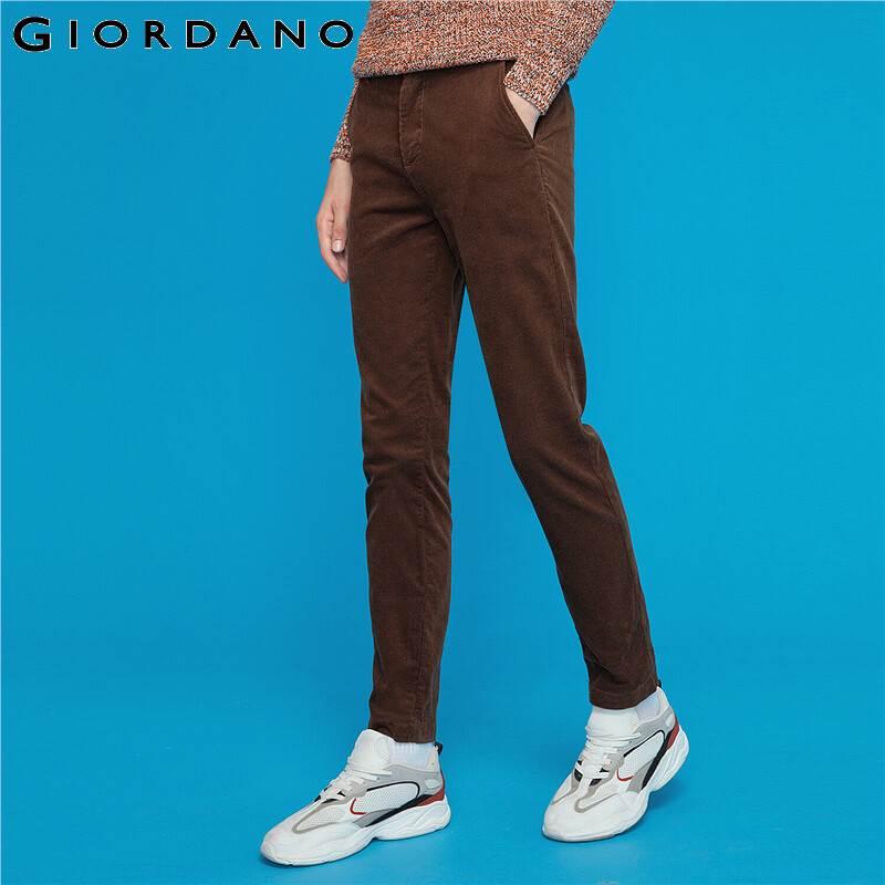 Giordano Men Pants Corduroy Button Closure Zip Fly Trousers Men Multi Pocket Slight Thick Soft Warm Pantalones Hombre 13119806