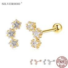 Silverhoo prata esterlina 925 jóias brilhante estrela zircônia cúbica brincos para as mulheres na moda 3 cores anti alergia brinco