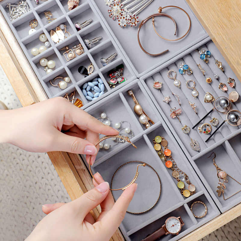 3pcs High Quality Drawer Diy Jewelry Box Storage Tray Ring Bracelet Gift Box Portable Velvet Jewellery Organizer Earring Holder Aliexpress