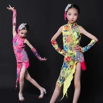 New Girls Latin Dance Competition Dress Lace Cheongsam Clothes Suit Children Dresses Prom Performance Wear Cha Cha Latin Dress