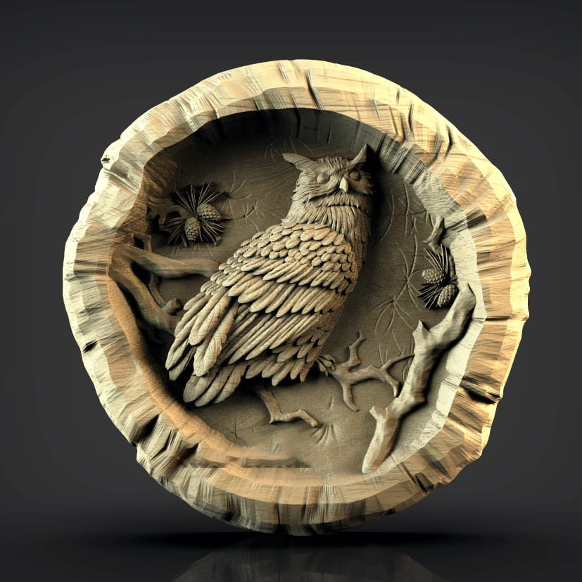 Owl Relief 3D Model STL Format File CNC Router Carving ArtCAM Aspire Type3 JDpaint Engraving Carving File