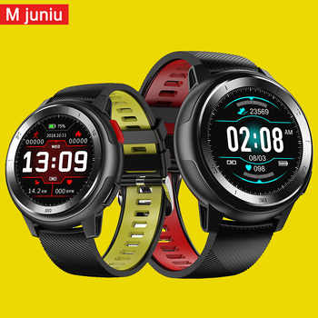 Mjuniu DT68 smart uhr männer IP68 wasserdichte 1,2 zoll full touch bildschirm 30 tage lange standby-EKG smartwatch für iphone samsuang