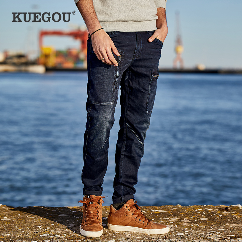 【Kuegou】 Men's Skinny Jeans Fashion For Men Winter Jeans Pencil Pants Jeans  Men's Denim Bib Overall KK-2938