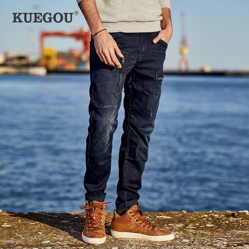 【Kuegou】 Men's Skinny Jeans Fashion For Men Winter Jeans Pencil Pants Jeans  Men's Denim Bib Overall KK-2938