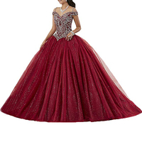 Burgundy Quinceanera Dress Formal Tulle Birthday Dress Party Off the Shoulder Beaded Ball Gown Elegant Prom Dresses Sweet 15 16