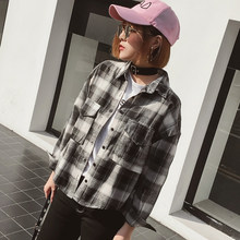 Lattice Shirt Woman Autumn All-match Bf Wind Easy Long Fund Shirt Loose Coat Student(China)